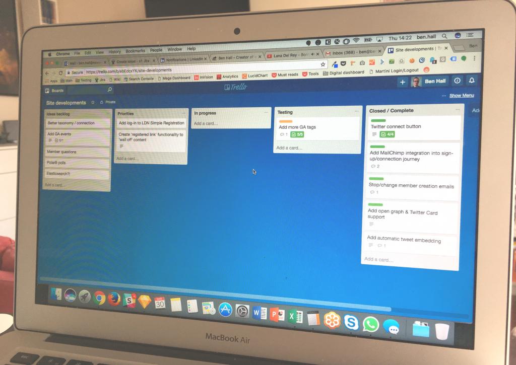 Trello board showing site development workflow