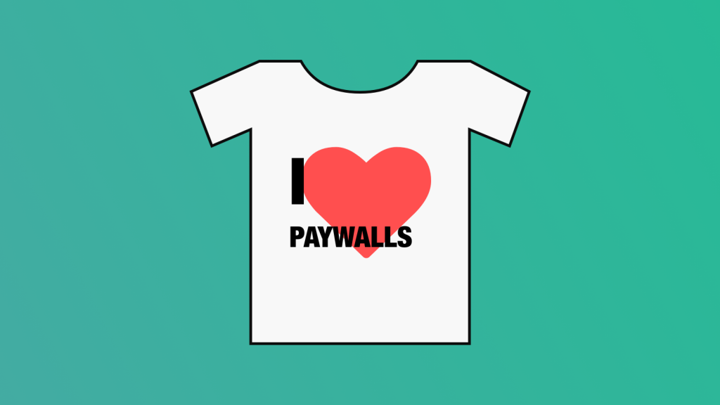 T-shirt with 'I heart paywalls' on the chest