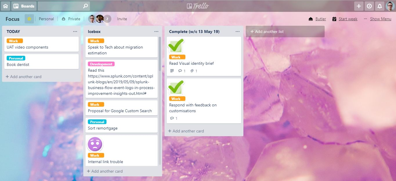 Screenshot of a Trello board with a pink crystal background and three lists. Running left-to-right, the headers of the lists are: Today, Icebox and Complete.